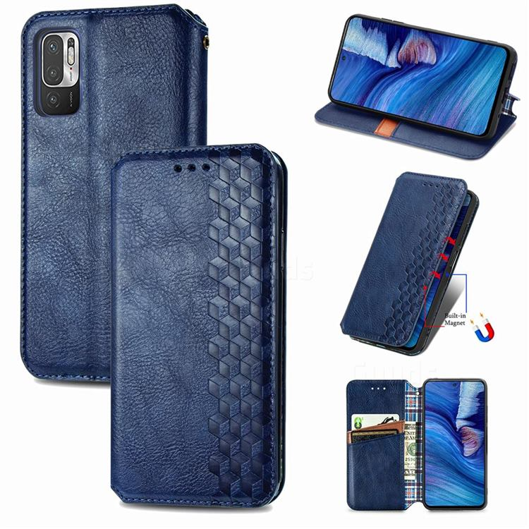 Ultra Slim Fashion Business Card Magnetic Automatic Suction Leather Flip Cover for Xiaomi Redmi Note 10 5G - Dark Blue