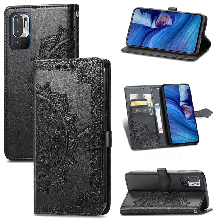 Embossing Imprint Mandala Flower Leather Wallet Case for Xiaomi Redmi Note 10 5G - Black