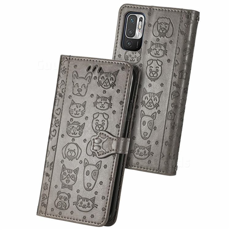 Embossing Dog Paw Kitten and Puppy Leather Wallet Case for Xiaomi Redmi Note 10 5G - Gray