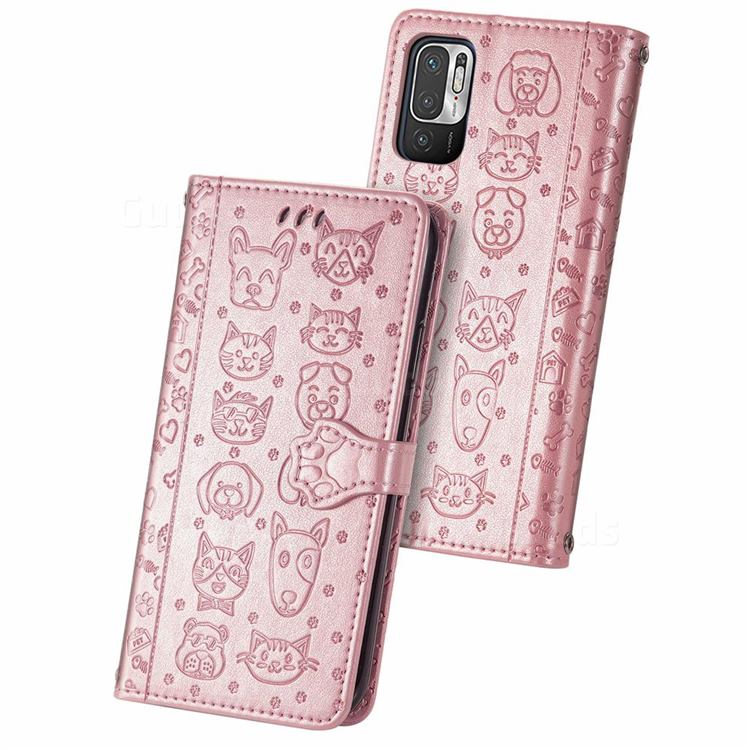 Embossing Dog Paw Kitten and Puppy Leather Wallet Case for Xiaomi Redmi Note 10 5G - Rose Gold