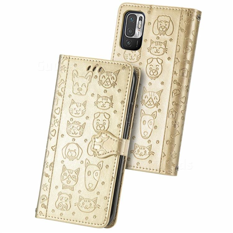 Embossing Dog Paw Kitten and Puppy Leather Wallet Case for Xiaomi Redmi Note 10 5G - Champagne Gold