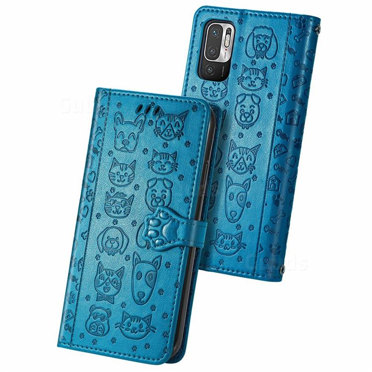 Embossing Dog Paw Kitten and Puppy Leather Wallet Case for Xiaomi Redmi Note 10 5G - Blue