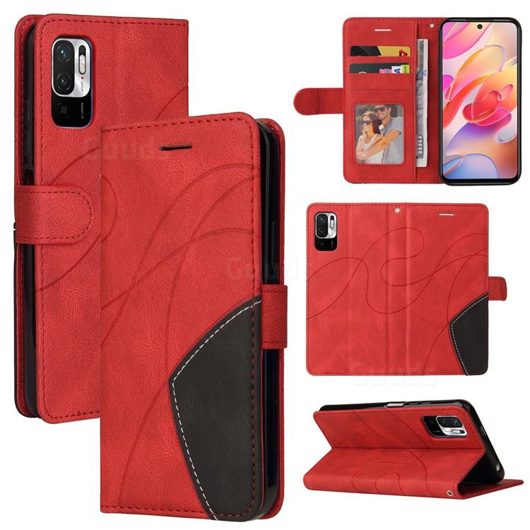 Luxury Two-color Stitching Leather Wallet Case Cover for Xiaomi Redmi Note 10 5G - Red
