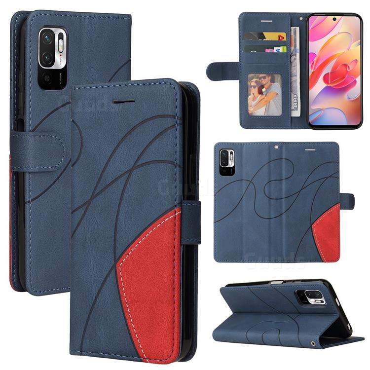 Luxury Two-color Stitching Leather Wallet Case Cover for Xiaomi Redmi Note 10 5G - Blue