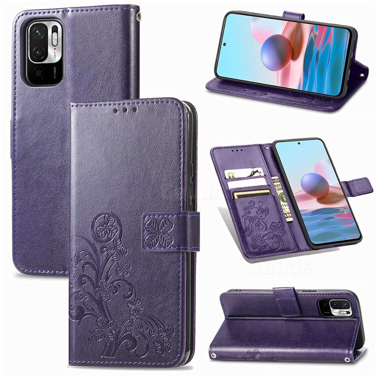 Embossing Imprint Four-Leaf Clover Leather Wallet Case for Xiaomi Redmi Note 10 5G - Purple