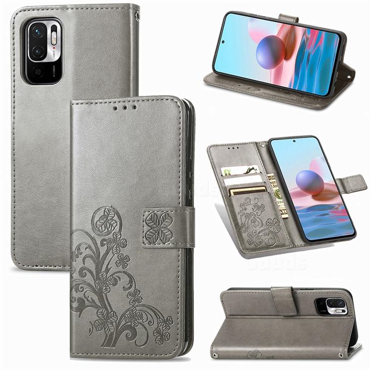Embossing Imprint Four-Leaf Clover Leather Wallet Case for Xiaomi Redmi Note 10 JE - Grey