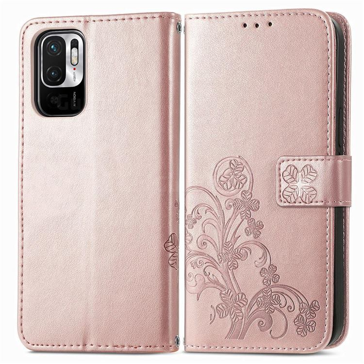 Embossing Imprint Four-Leaf Clover Leather Wallet Case for Xiaomi Redmi Note 10 JE - Rose Gold