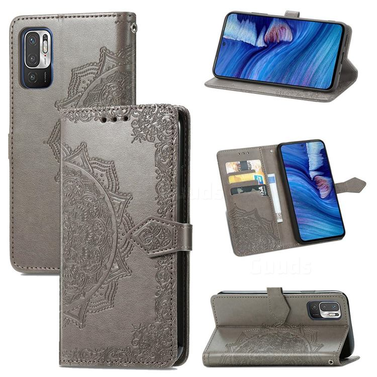 Embossing Imprint Mandala Flower Leather Wallet Case for Xiaomi Redmi Note 10 JE - Gray