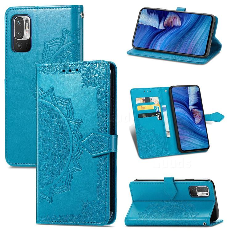 Embossing Imprint Mandala Flower Leather Wallet Case for Xiaomi Redmi Note 10 JE - Blue