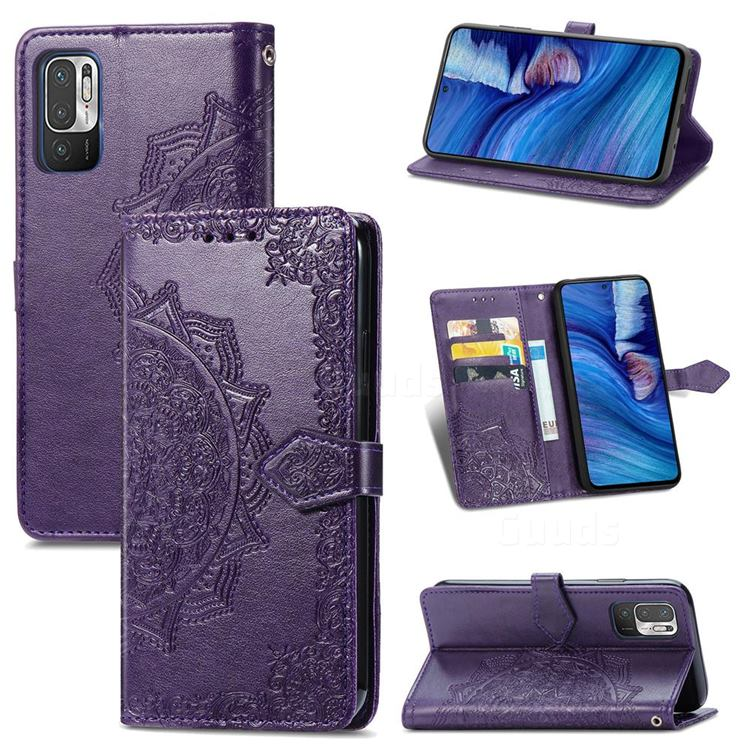 Embossing Imprint Mandala Flower Leather Wallet Case for Xiaomi Redmi Note 10 JE - Purple