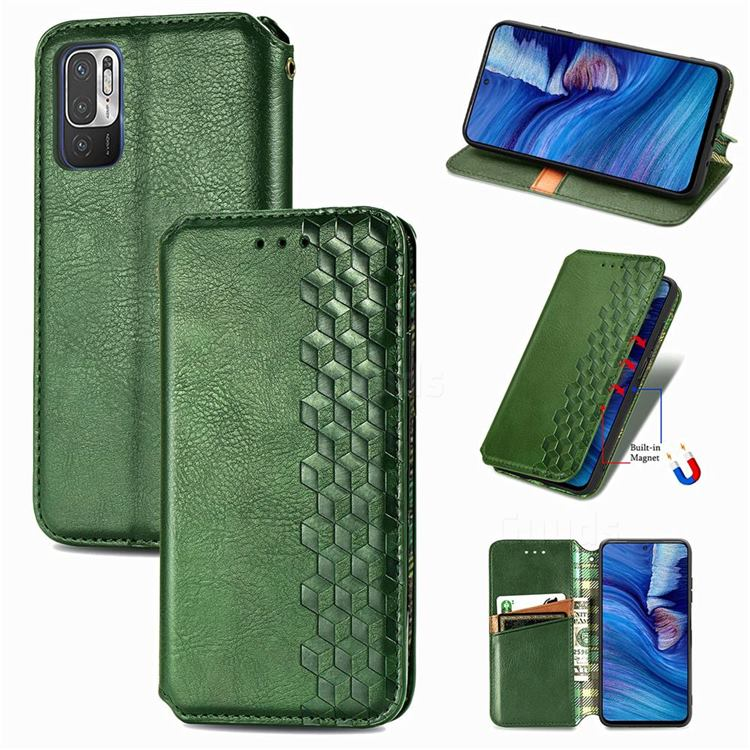 Ultra Slim Fashion Business Card Magnetic Automatic Suction Leather Flip Cover for Xiaomi Redmi Note 10 JE - Green