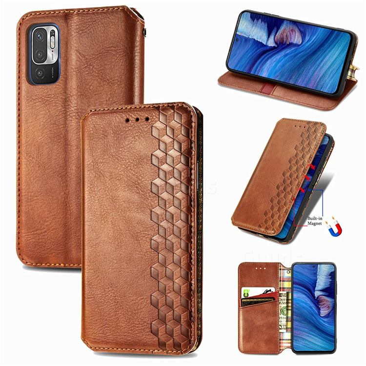 Ultra Slim Fashion Business Card Magnetic Automatic Suction Leather Flip Cover for Xiaomi Redmi Note 10 JE - Brown