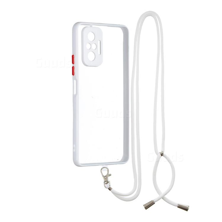 Necklace Cross-body Lanyard Strap Cord Phone Case Cover for Xiaomi Redmi Note 10 Pro / Note 10 Pro Max - White