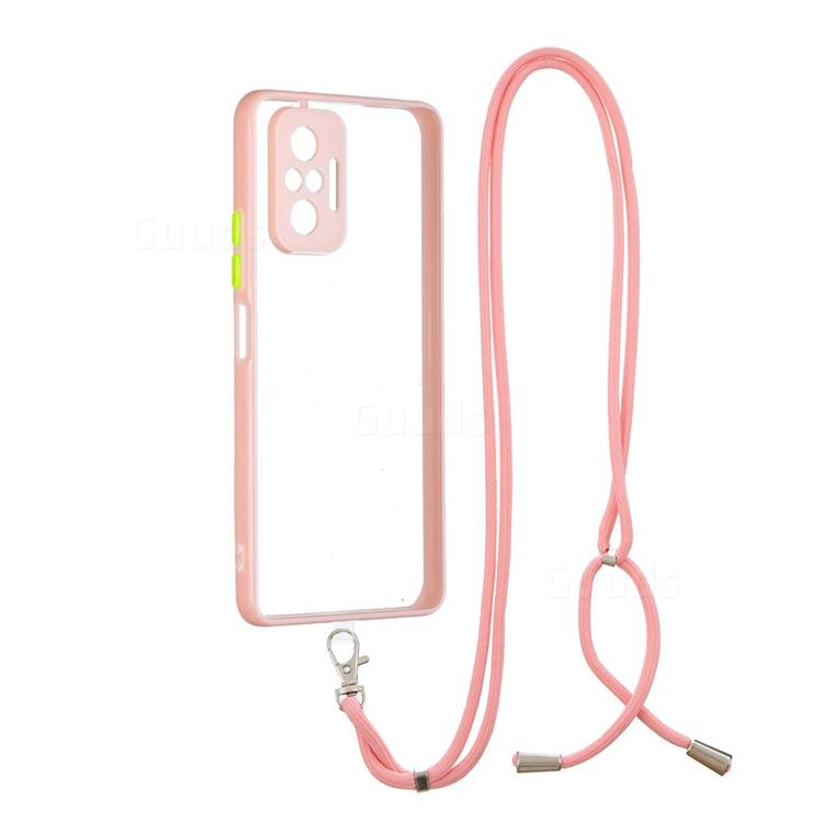 Necklace Cross-body Lanyard Strap Cord Phone Case Cover for Xiaomi Redmi Note 10 Pro / Note 10 Pro Max - Pink