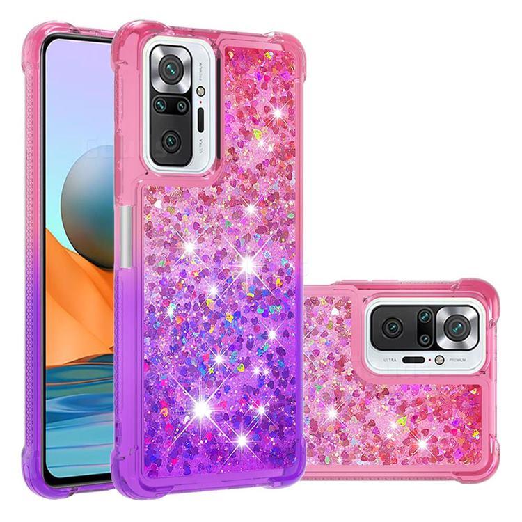Rainbow Gradient Liquid Glitter Quicksand Sequins Phone Case for Xiaomi Redmi Note 10 Pro / Note 10 Pro Max - Pink Purple