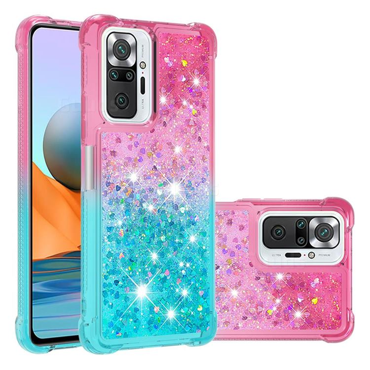 Rainbow Gradient Liquid Glitter Quicksand Sequins Phone Case for Xiaomi Redmi Note 10 Pro / Note 10 Pro Max - Pink Blue