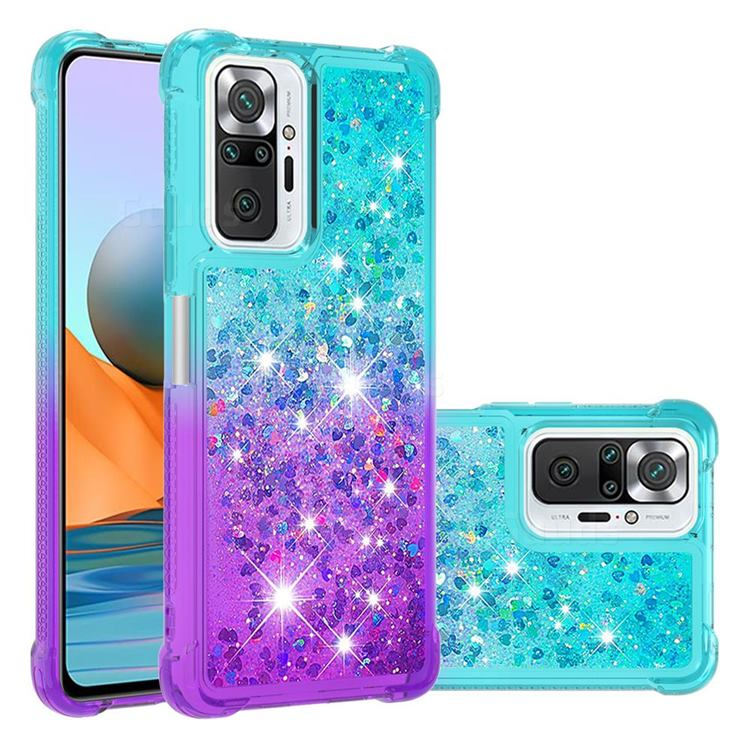 Rainbow Gradient Liquid Glitter Quicksand Sequins Phone Case for Xiaomi Redmi Note 10 Pro / Note 10 Pro Max - Blue Purple