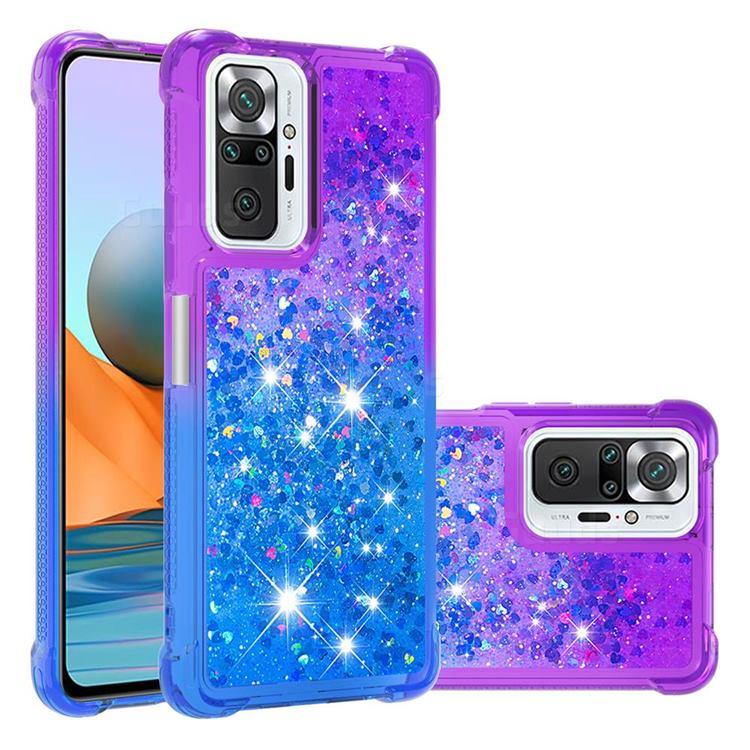 Rainbow Gradient Liquid Glitter Quicksand Sequins Phone Case for Xiaomi Redmi Note 10 Pro / Note 10 Pro Max - Purple Blue