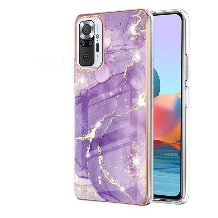 Fashion Purple Electroplated Gold Frame 2.0 Thickness Plating Marble IMD Soft Back Cover for Xiaomi Redmi Note 10 Pro / Note 10 Pro Max