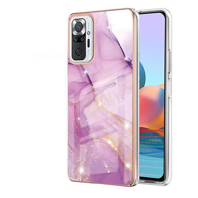 Dream Violet Electroplated Gold Frame 2.0 Thickness Plating Marble IMD Soft Back Cover for Xiaomi Redmi Note 10 Pro / Note 10 Pro Max