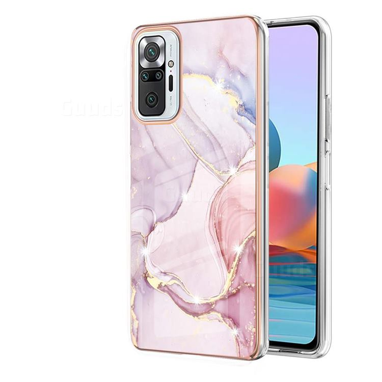 Rose Gold Dancing Electroplated Gold Frame 2.0 Thickness Plating Marble IMD Soft Back Cover for Xiaomi Redmi Note 10 Pro / Note 10 Pro Max
