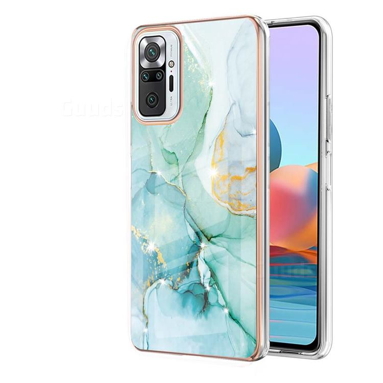 Green Silk Electroplated Gold Frame 2.0 Thickness Plating Marble IMD Soft Back Cover for Xiaomi Redmi Note 10 Pro / Note 10 Pro Max