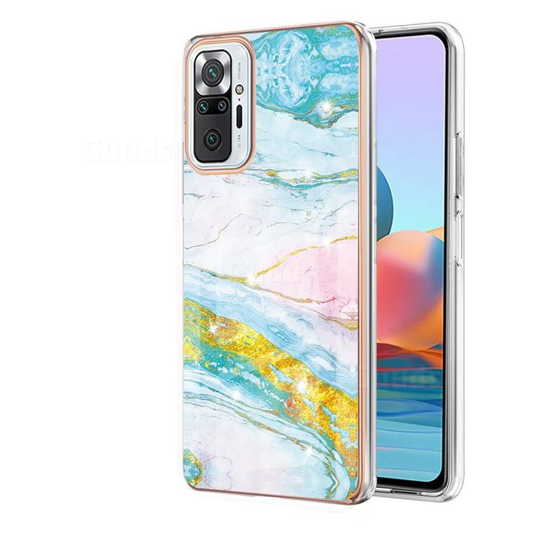 Green Golden Electroplated Gold Frame 2.0 Thickness Plating Marble IMD Soft Back Cover for Xiaomi Redmi Note 10 Pro / Note 10 Pro Max