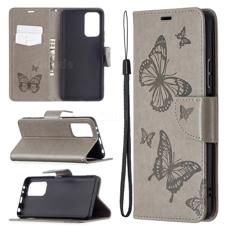 Embossing Double Butterfly Leather Wallet Case for Xiaomi Redmi Note 10 Pro / Note 10 Pro Max - Gray