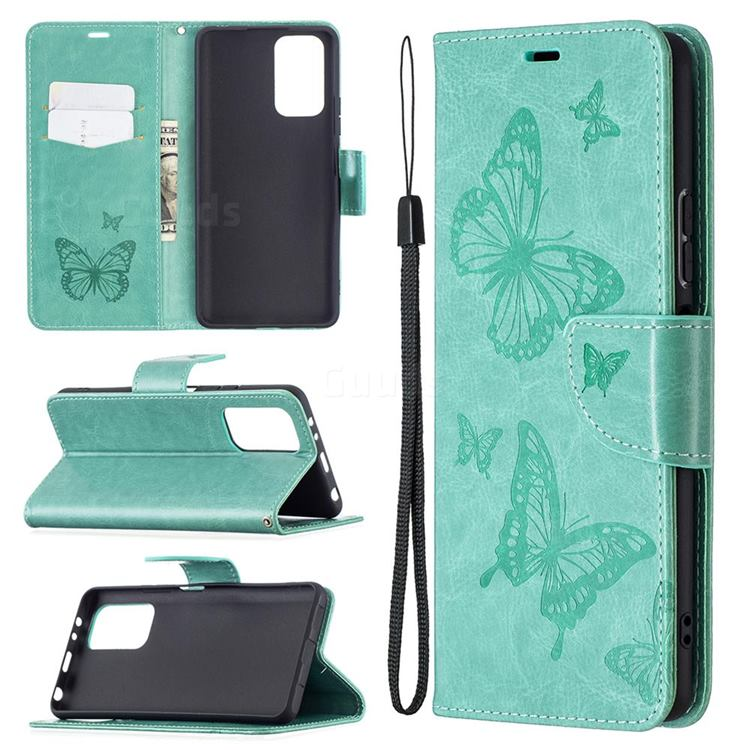 Embossing Double Butterfly Leather Wallet Case for Xiaomi Redmi Note 10 Pro / Note 10 Pro Max - Green