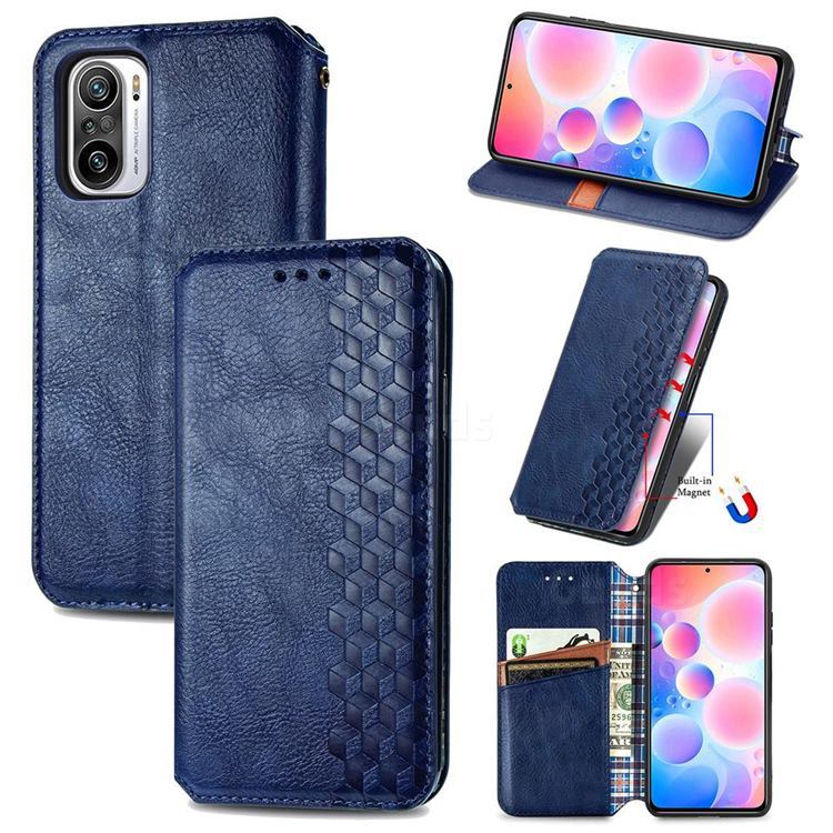Ultra Slim Fashion Business Card Magnetic Automatic Suction Leather Flip Cover for Xiaomi Redmi Note 10 Pro / Note 10 Pro Max - Dark Blue