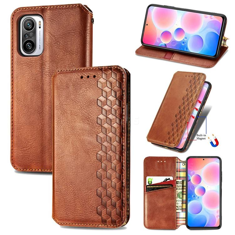 Ultra Slim Fashion Business Card Magnetic Automatic Suction Leather Flip Cover for Xiaomi Redmi Note 10 Pro / Note 10 Pro Max - Brown
