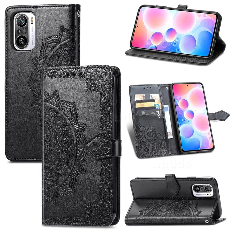 Embossing Imprint Mandala Flower Leather Wallet Case for Xiaomi Redmi Note 10 Pro / Note 10 Pro Max - Black