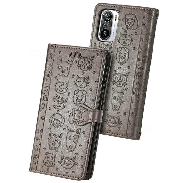 Embossing Dog Paw Kitten and Puppy Leather Wallet Case for Xiaomi Redmi Note 10 Pro / Note 10 Pro Max - Gray