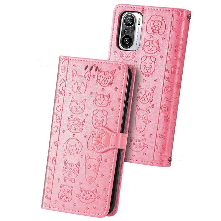 Embossing Dog Paw Kitten and Puppy Leather Wallet Case for Xiaomi Redmi Note 10 Pro / Note 10 Pro Max - Pink