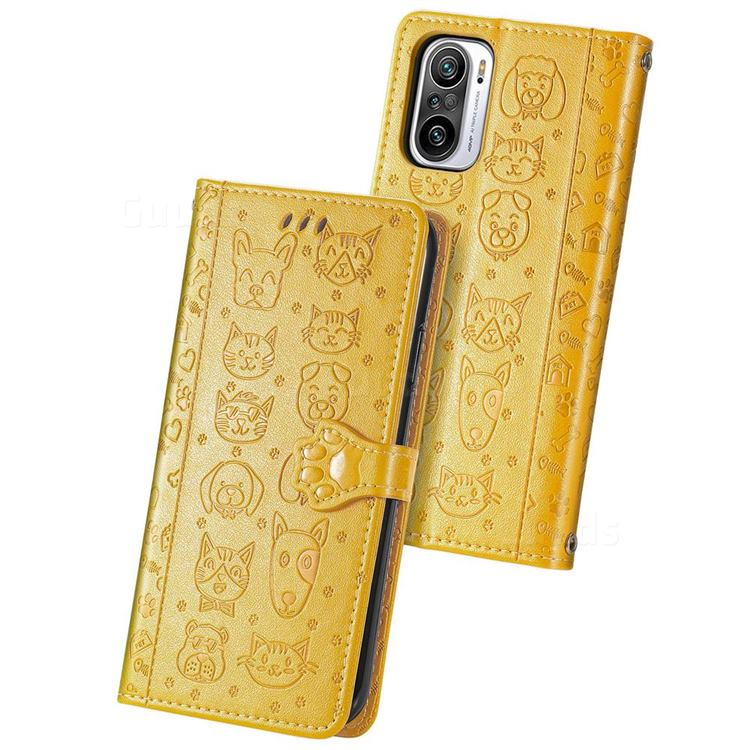 Embossing Dog Paw Kitten and Puppy Leather Wallet Case for Xiaomi Redmi Note 10 Pro / Note 10 Pro Max - Yellow