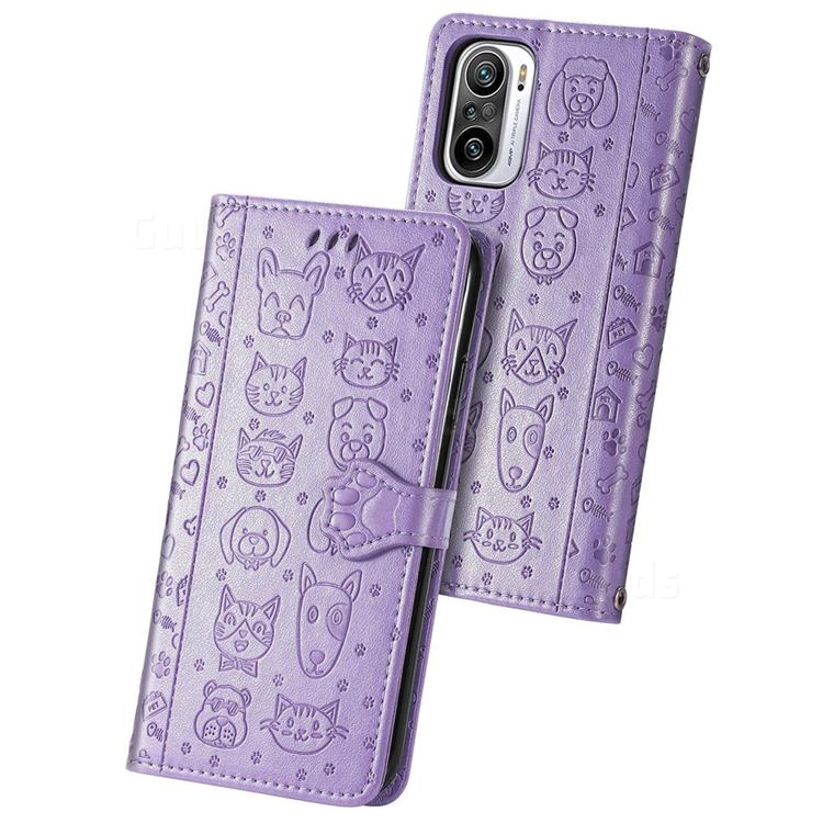 Embossing Dog Paw Kitten and Puppy Leather Wallet Case for Xiaomi Redmi Note 10 Pro / Note 10 Pro Max - Purple