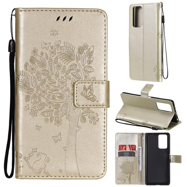 Embossing Butterfly Tree Leather Wallet Case for Xiaomi Redmi Note 10 Pro / Note 10 Pro Max - Champagne
