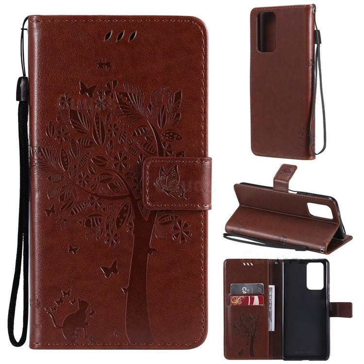 Embossing Butterfly Tree Leather Wallet Case for Xiaomi Redmi Note 10 Pro / Note 10 Pro Max - Coffee