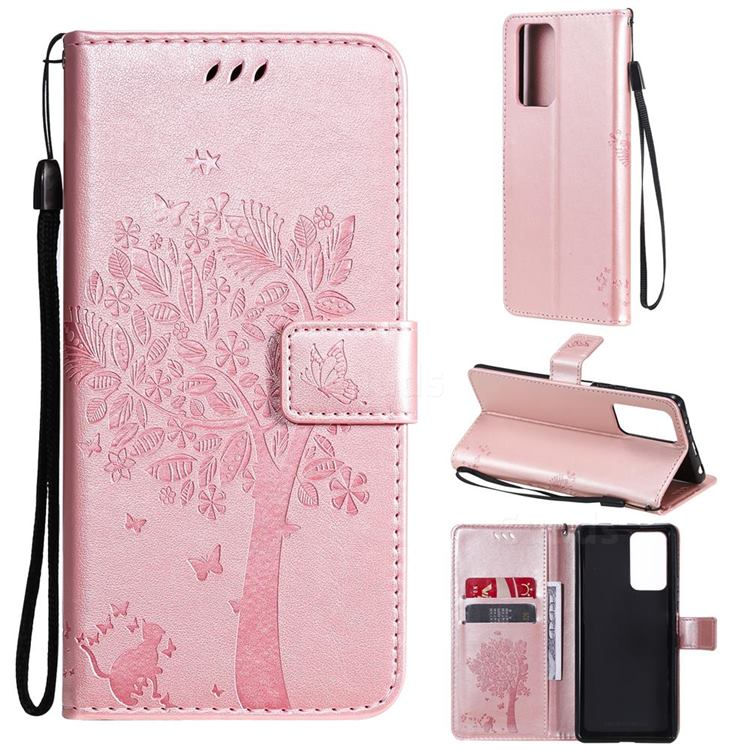 Embossing Butterfly Tree Leather Wallet Case for Xiaomi Redmi Note 10 Pro / Note 10 Pro Max - Rose Pink