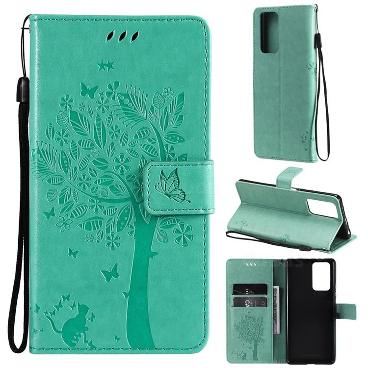 Embossing Butterfly Tree Leather Wallet Case for Xiaomi Redmi Note 10 Pro / Note 10 Pro Max - Cyan
