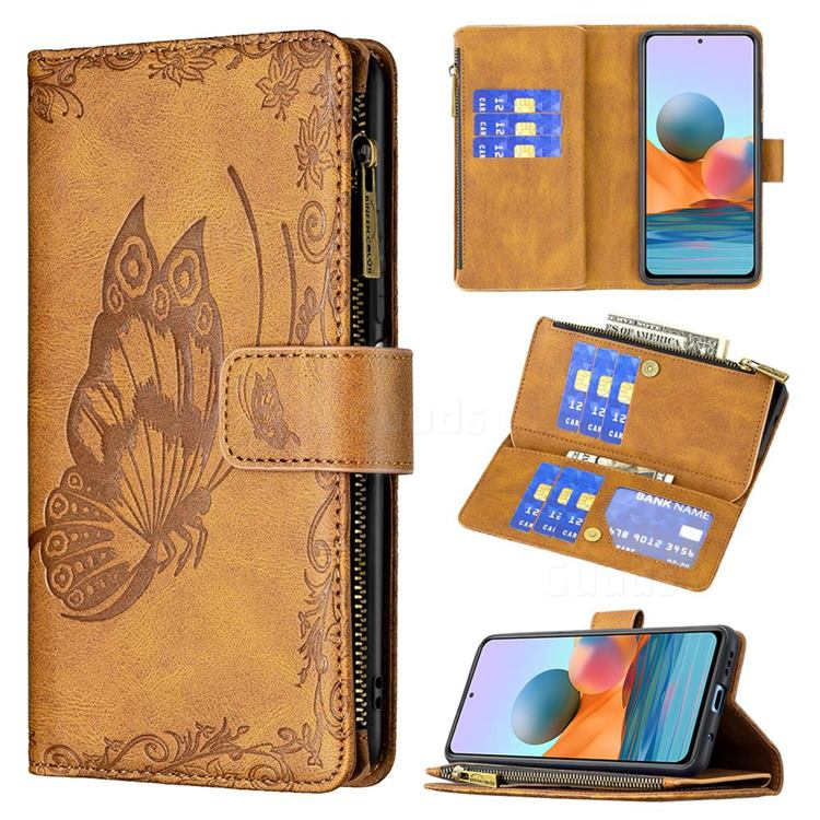 Binfen Color Imprint Vivid Butterfly Buckle Zipper Multi-function Leather Phone Wallet for Xiaomi Redmi Note 10 Pro / Note 10 Pro Max - Brown