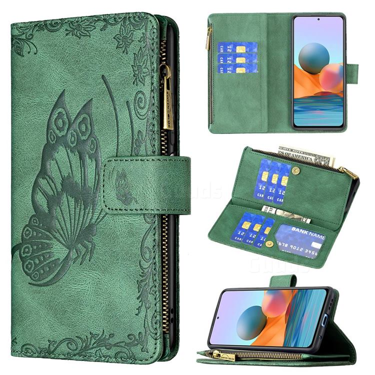 Binfen Color Imprint Vivid Butterfly Buckle Zipper Multi-function Leather Phone Wallet for Xiaomi Redmi Note 10 Pro / Note 10 Pro Max - Green