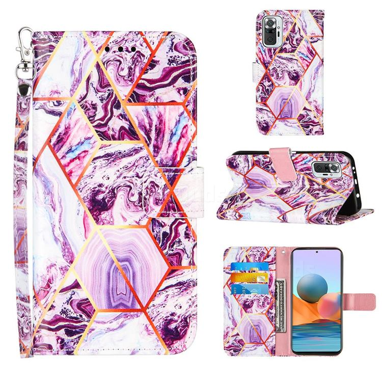 Dream Purple Stitching Color Marble Leather Wallet Case for Xiaomi Redmi Note 10 Pro / Note 10 Pro Max