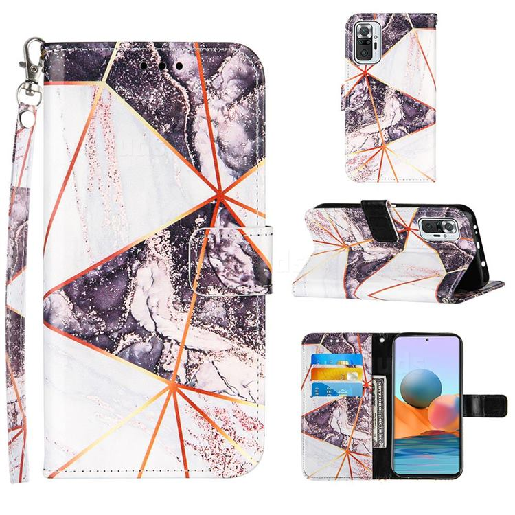 Black and White Stitching Color Marble Leather Wallet Case for Xiaomi Redmi Note 10 Pro / Note 10 Pro Max