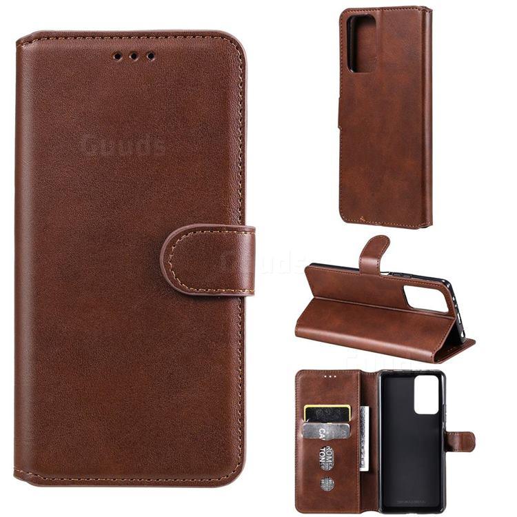 Retro Calf Matte Leather Wallet Phone Case for Xiaomi Redmi Note 10 Pro / Note 10 Pro Max - Brown