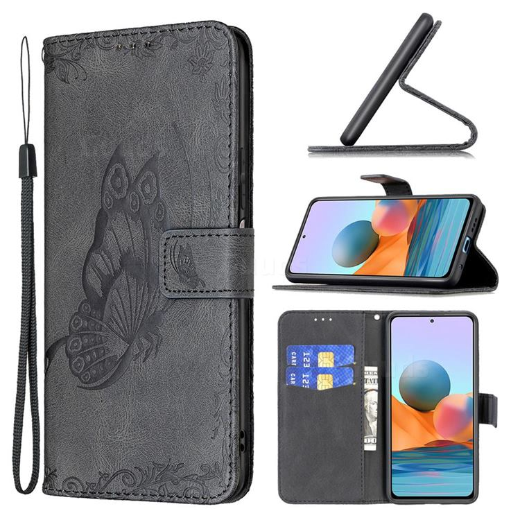 Binfen Color Imprint Vivid Butterfly Leather Wallet Case for Xiaomi Redmi Note 10 Pro / Note 10 Pro Max - Black