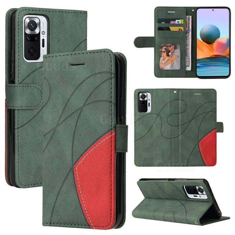 Luxury Two-color Stitching Leather Wallet Case Cover for Xiaomi Redmi Note 10 Pro / Note 10 Pro Max - Green