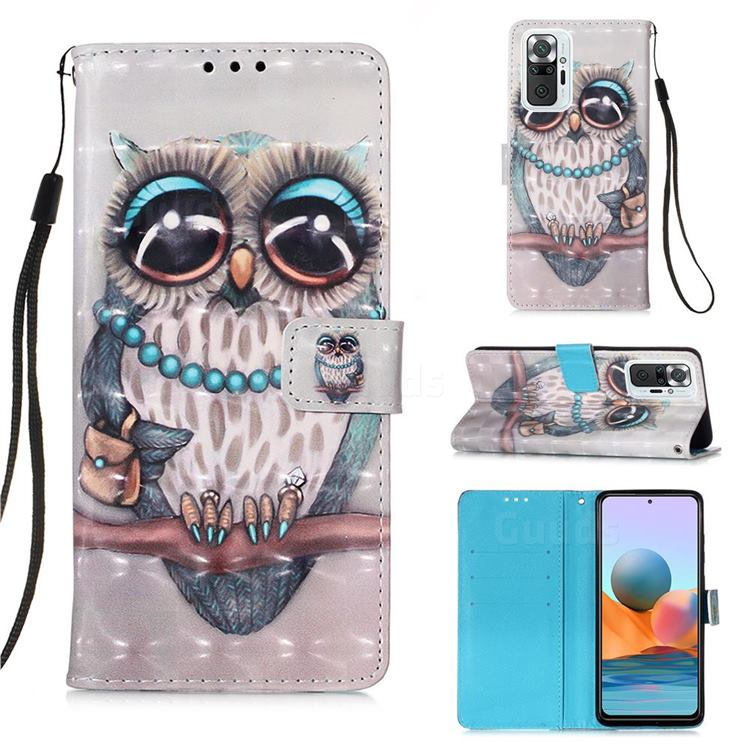 Sweet Gray Owl 3D Painted Leather Wallet Case for Xiaomi Redmi Note 10 Pro / Note 10 Pro Max