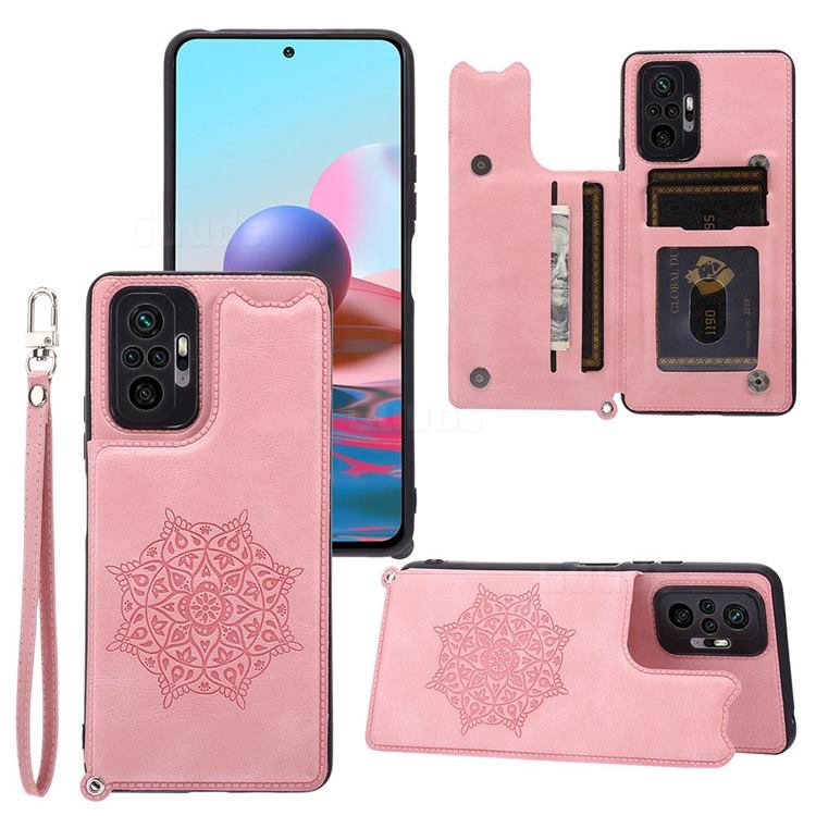 Luxury Mandala Multi-function Magnetic Card Slots Stand Leather Back Cover for Xiaomi Redmi Note 10 Pro / Note 10 Pro Max - Rose Gold