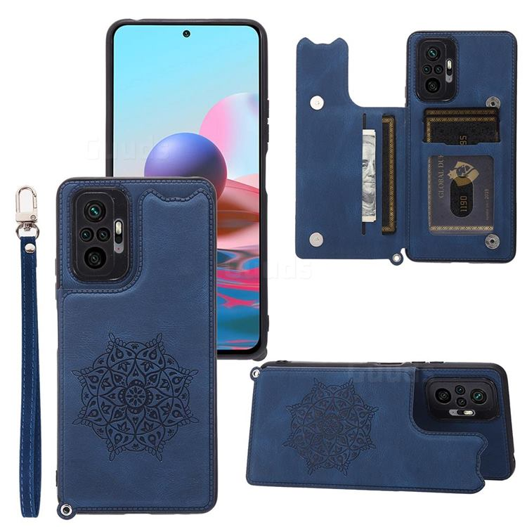 Luxury Mandala Multi-function Magnetic Card Slots Stand Leather Back Cover for Xiaomi Redmi Note 10 Pro / Note 10 Pro Max - Blue